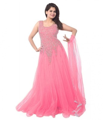 Smartlook Net Embroidered Semi-stitched Gown
