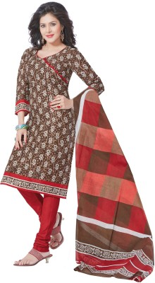 Salwar Studio Cotton Floral Print, Checkered Salwar Suit Dupatta Material