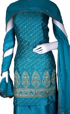 Haleema Crafts Cotton, Chiffon Woven, Embroidered Salwar Suit Material
