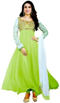 Parampara Fashion Georgette Embroidered Semi-stitched Salwar Suit Dupatta Material
