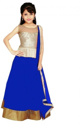 SHOPPERS SHOP Net Embroidered Semi-stitched Lehenga Choli Material