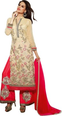 Aahalya Synthetic Georgette Embroidered Semi-stitched Salwar Suit Dupatta & Waistcoat Material
