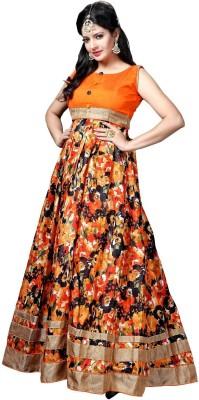 Fabcart Silk Floral Print Semi-stitched Salwar Suit Dupatta Material