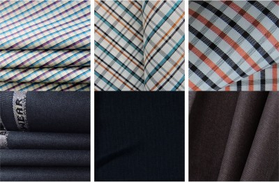GWALIOR Cotton Polyester Blend Checkered Shirt & Trouser Fabric
