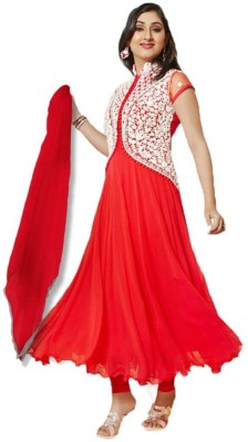 Styleesta Georgette Embroidered Semi-stitched Salwar Suit Dupatta Material