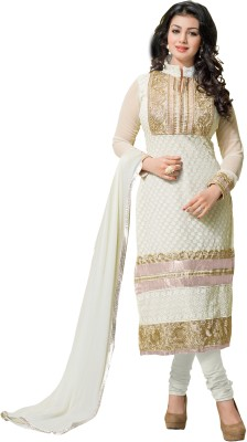 Fabviva Georgette Embroidered Semi-stitched Salwar Suit Dupatta Material
