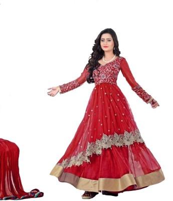 Shree Ganesh Feshion Net Embroidered Semi-stitched Salwar Suit Dupatta Material