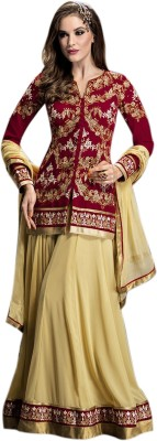 Ladyview Georgette Embroidered Semi-stitched Lehenga Choli Material