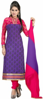 Fabfirki Cotton Embroidered Semi-stitched Salwar Suit Dupatta Material
