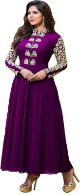Metroz Georgette Embroidered Semi-stitched Salwar Suit Material