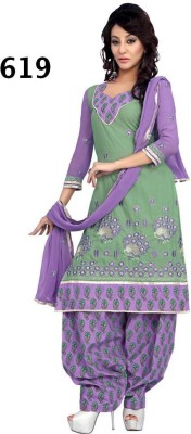 Avani Textiles Cotton Polyester Blend Embroidered Semi-stitched Salwar Suit Dupatta Material