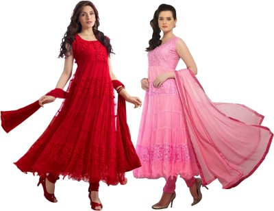 Fabfiza Net, Brasso Embroidered Semi-stitched Salwar Suit Dupatta Material