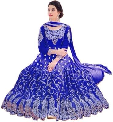 PRN Georgette Embroidered Semi-stitched Salwar Suit Dupatta Material