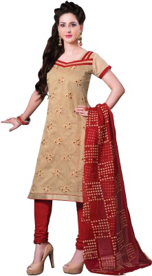 Vastrakosh Cotton Embroidered Semi-stitched Salwar Suit Dupatta Material