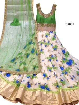 Trishulom Cloth's Online Silk Embroidered Semi-stitched Salwar Suit Dupatta Material