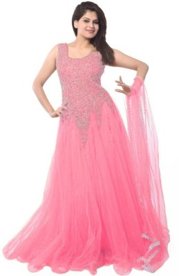 Salwar Studio Net Embroidered Semi-stitched Gown