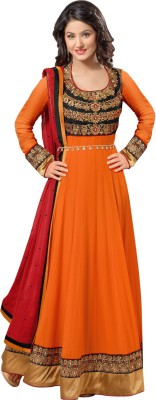 RockChin Fashions Georgette Embroidered Semi-stitched Salwar Suit Dupatta Material
