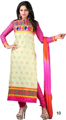 Shreeji Fashion Cotton Embroidered Semi-stitched Salwar Suit Dupatta Material