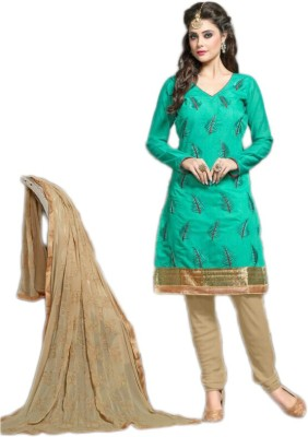 Vimush Fashion Chanderi Embroidered Semi-stitched Salwar Suit Dupatta Material