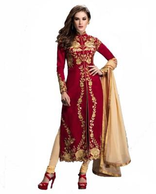 DIVINEFASHIONSTUDIO Georgette Embroidered Semi-stitched Salwar Suit Dupatta Material
