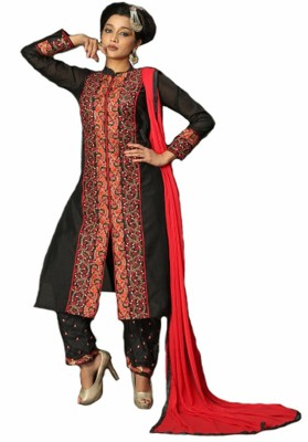 Metroz Chanderi Embroidered Semi-stitched Salwar Suit Dupatta Material