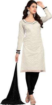 Desi Look Chanderi Embroidered Semi-stitched Salwar Suit Dupatta Material