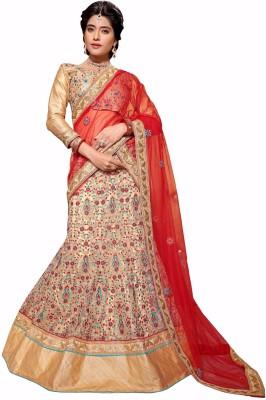 Aasvaa Net Embroidered Lehenga Choli Material(Un-stitched)
