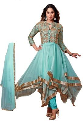 GoAavaran Georgette Embroidered Semi-stitched Salwar Suit Dupatta Material