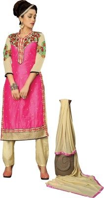 Fashion Spot Chanderi Embroidered Semi-stitched Salwar Suit Dupatta Material