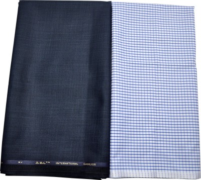 Gwalior Suitings Cotton Polyester Blend Checkered Shirt & Trouser Fabric