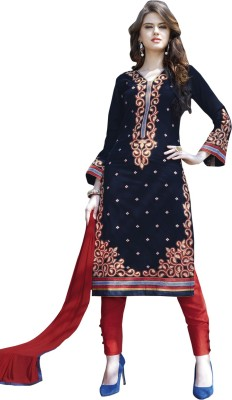 Kvsfab Cotton Embroidered Salwar Suit Dupatta Material