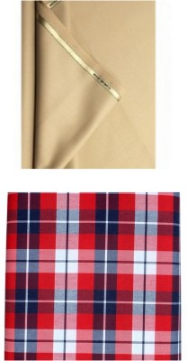 SAHYOG Synthetic, Cotton Polyester Blend Solid, Checkered Shirt & Trouser Fabric