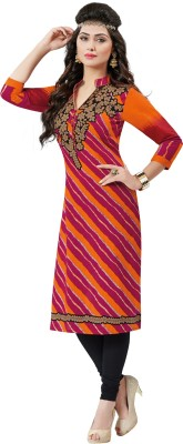 Salwar Studio Cotton Floral Print, Striped Kurti Fabric(Un-stitched)