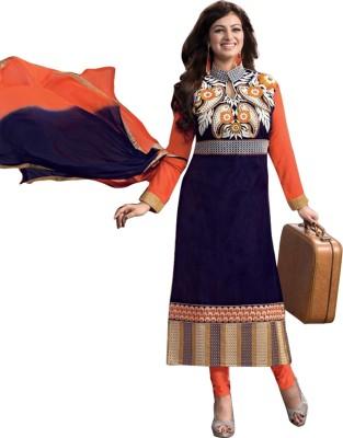 Fashion Fiza Cotton Embroidered Semi-stitched Salwar Suit Dupatta Material