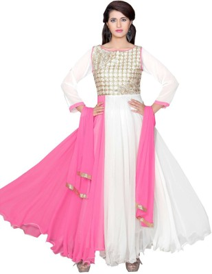 RKT Georgette Embroidered Semi-stitched Salwar Suit Dupatta Material