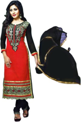 Indian Vastra Cotton Embroidered Semi-stitched Salwar Suit Dupatta Material