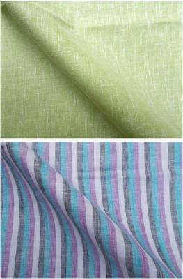 Azed Cotton Linen Blend Striped, Solid Shirt Fabric