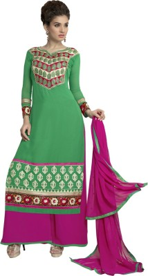 Dlines Georgette Embroidered Semi-stitched Salwar Suit Dupatta Material