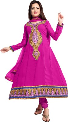 Fabcart Georgette Embroidered Semi-stitched Salwar Suit Material