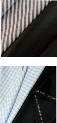 Jhon Diego Cotton Polyester Blend Striped, Checkered Shirt & Trouser Fabric