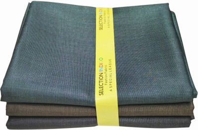 Selection Indigo Polyester, Viscose Solid Trouser Fabric