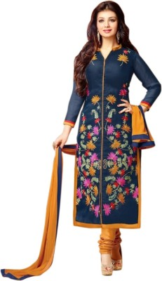 Snapyshopy Cotton Embroidered Semi-stitched Salwar Suit Dupatta Material