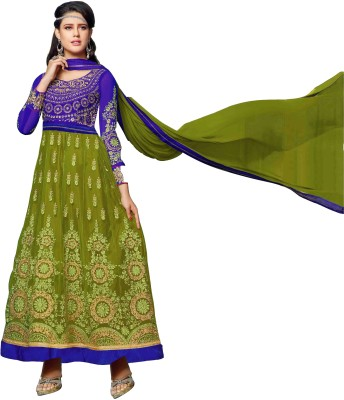 The Fashion World Silk Embroidered Semi-stitched Salwar Suit Dupatta Material