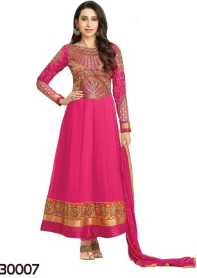 Shoppie Zone Georgette Embroidered Semi-stitched Salwar Suit Dupatta Material