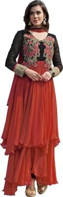 Shop Avenue Georgette Embroidered Semi-stitched Salwar Suit Dupatta & Waistcoat Material