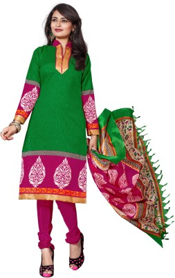 The Fashion World Chanderi Printed Semi-stitched Salwar Suit Dupatta Material