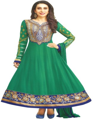 Reya Georgette Embroidered Semi-stitched Salwar Suit Dupatta Material at flipkart