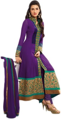 Loot Lo Purple Gown Georgette Embroidered Semi-stitched Salwar Suit Dupatta Material