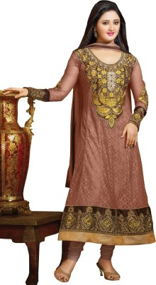 Fashion Fiona Net Embroidered Semi-stitched Salwar Suit Dupatta Material