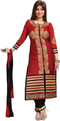 Nandani Fashion Cotton Embroidered Semi-stitched Salwar Suit Dupatta Material